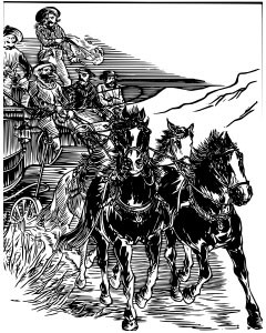 Stagecoach fleeing robbers
